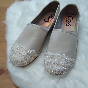 Sam Edelman tan espadrille slip-ons with pearls